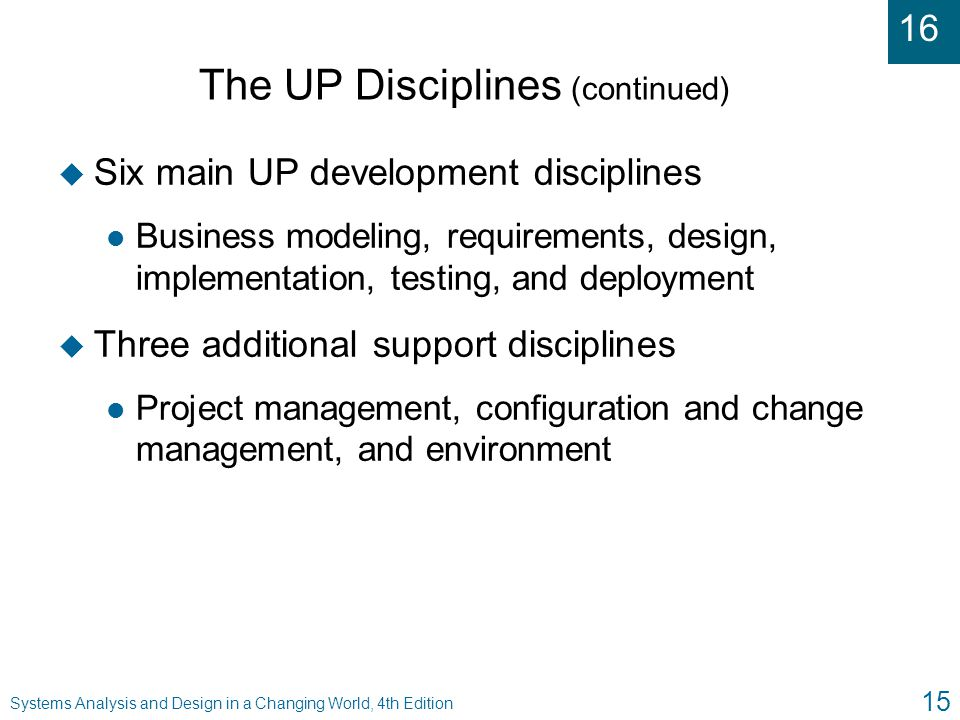 The UP Disciplines (continued)