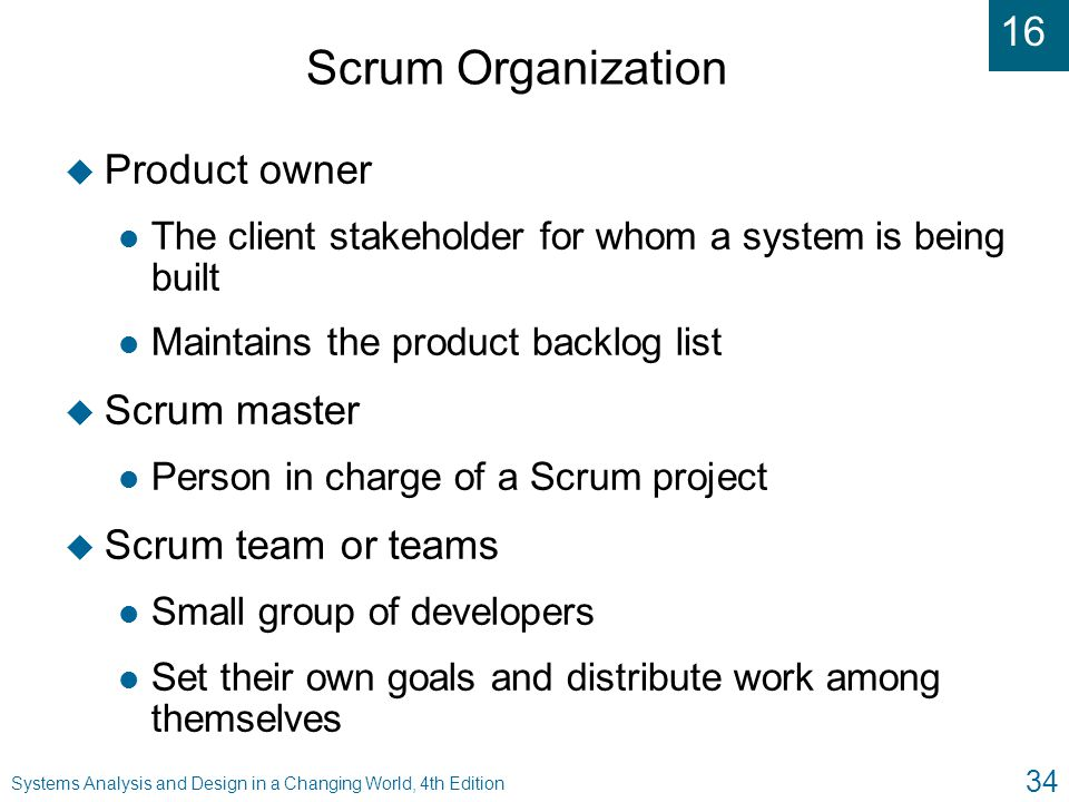 Scrum Organization Product owner Scrum master Scrum team or teams