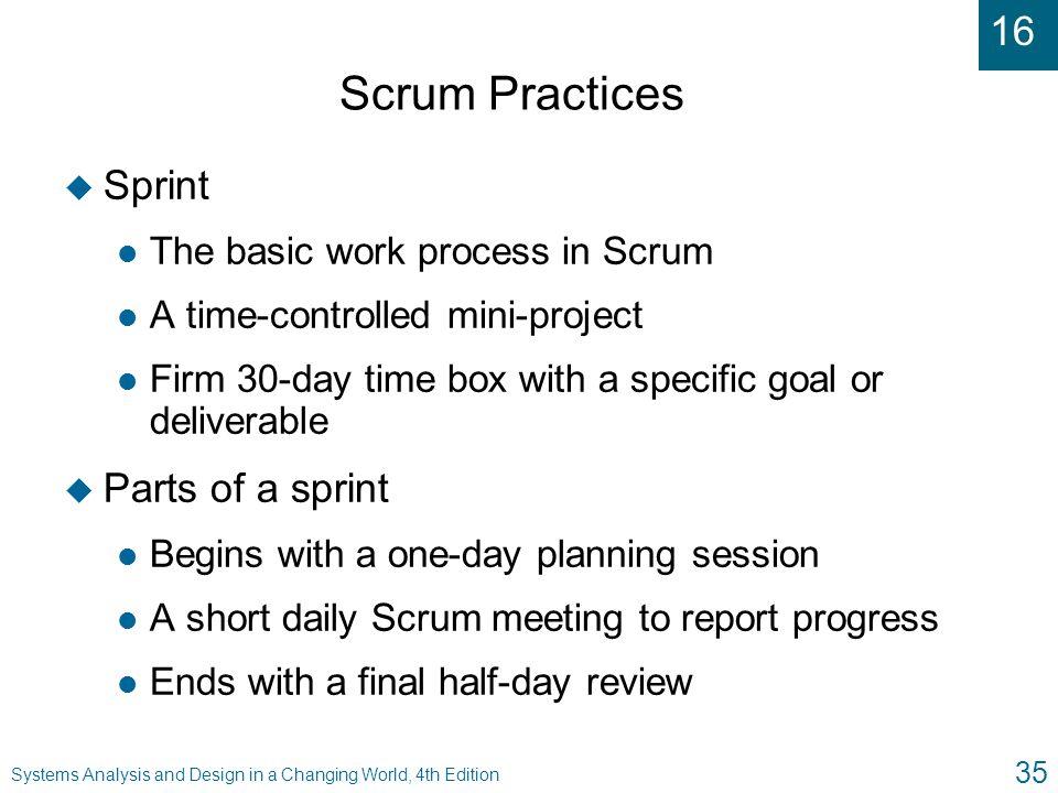 Scrum Practices Sprint Parts of a sprint