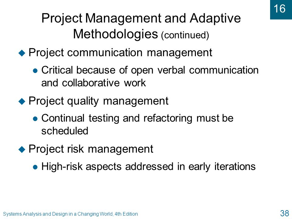 Project Management and Adaptive Methodologies (continued)
