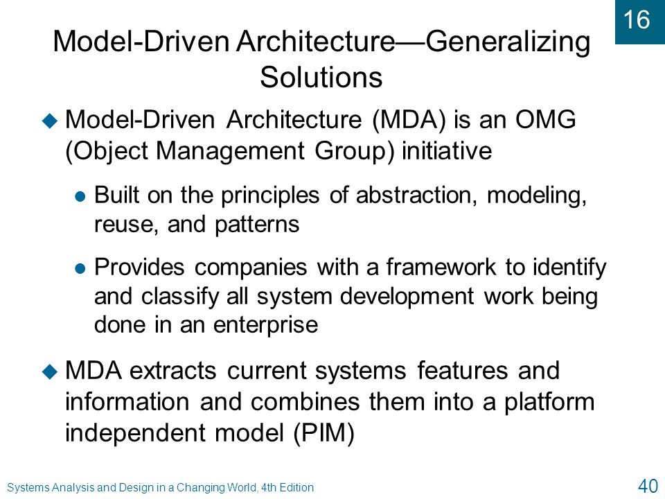 Model-Driven Architecture—Generalizing Solutions