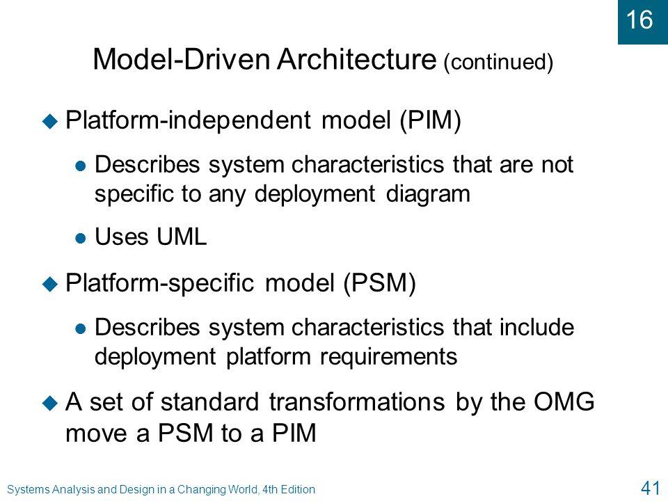 Model-Driven Architecture (continued)