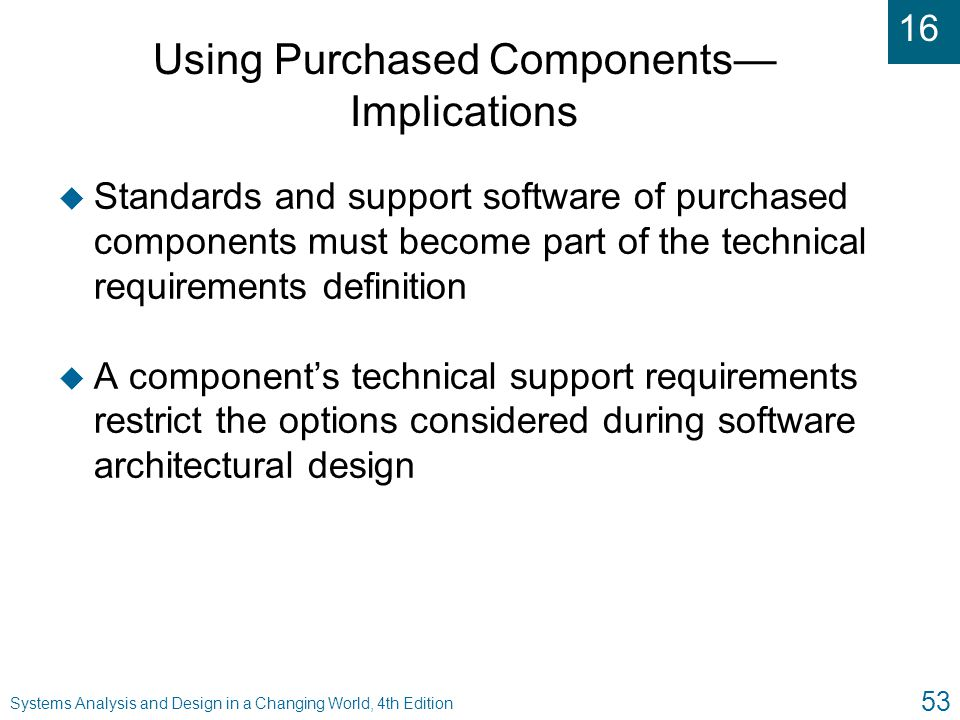 Using Purchased Components— Implications