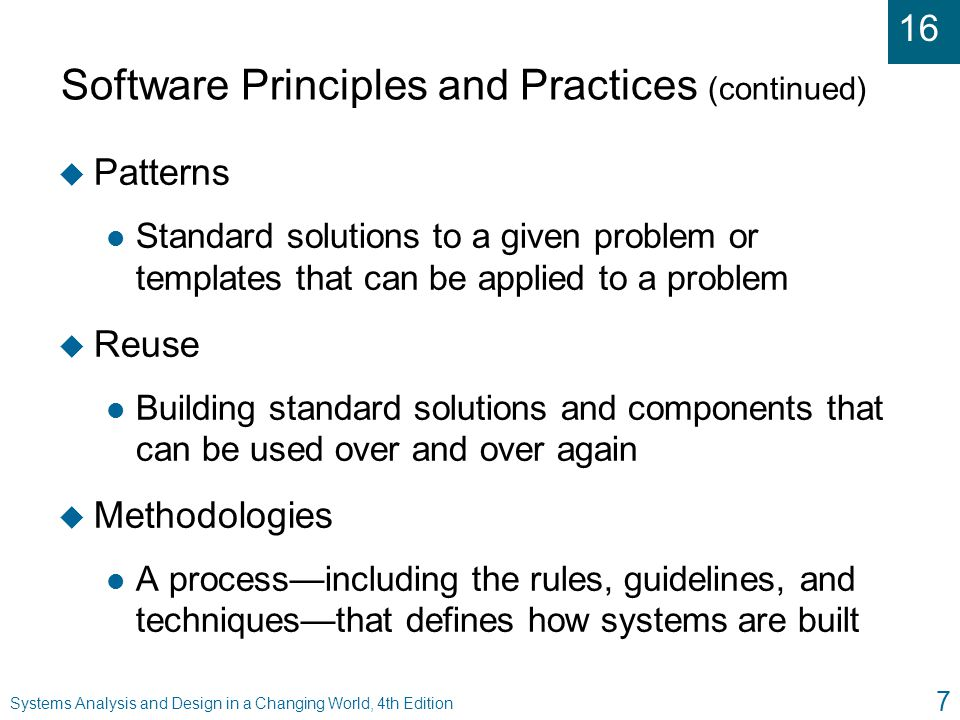 Software Principles and Practices (continued)