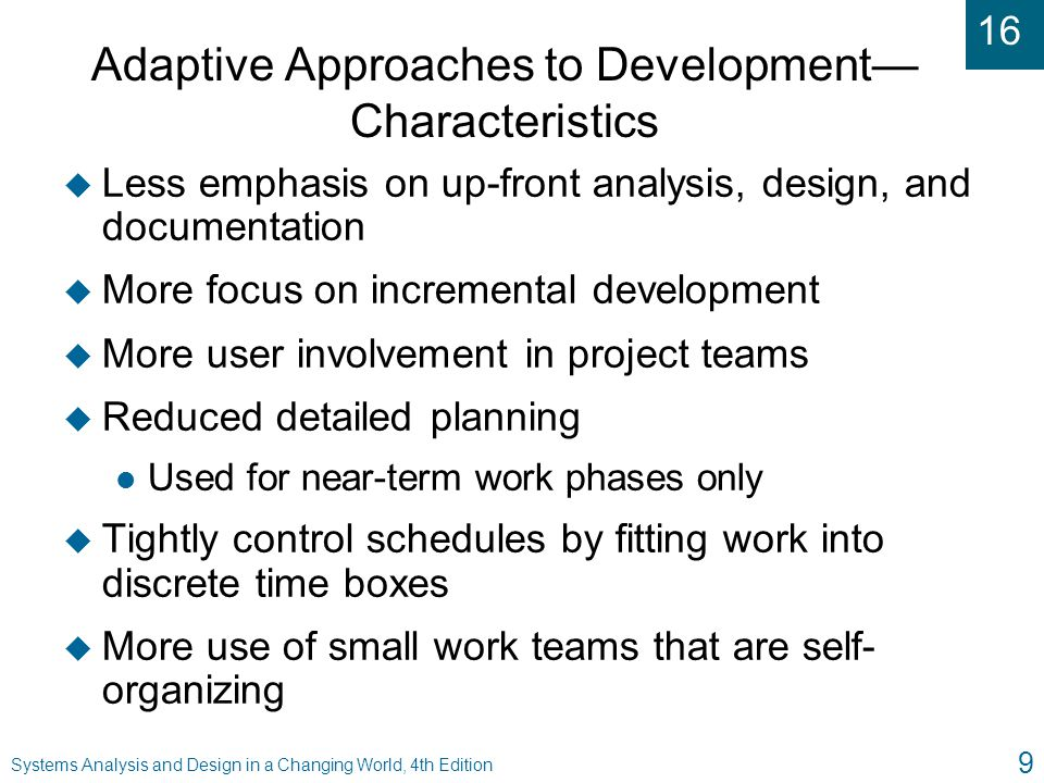 Adaptive Approaches to Development— Characteristics