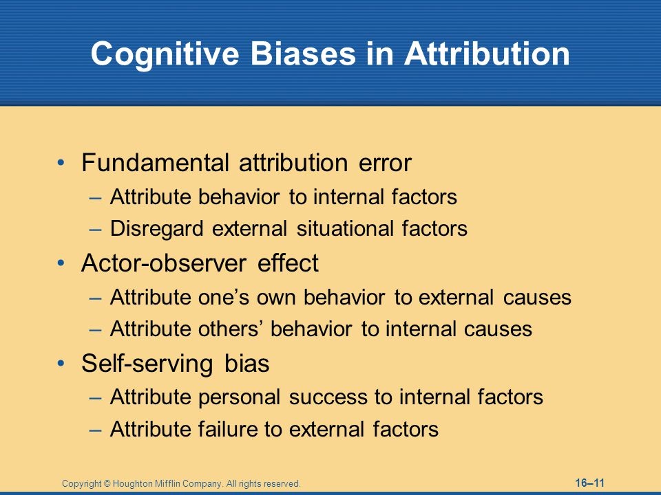 Cognitive Biases in Attribution