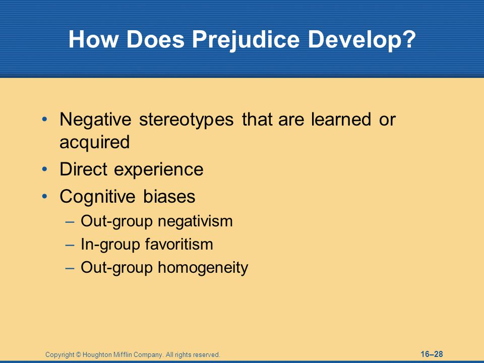 How Does Prejudice Develop
