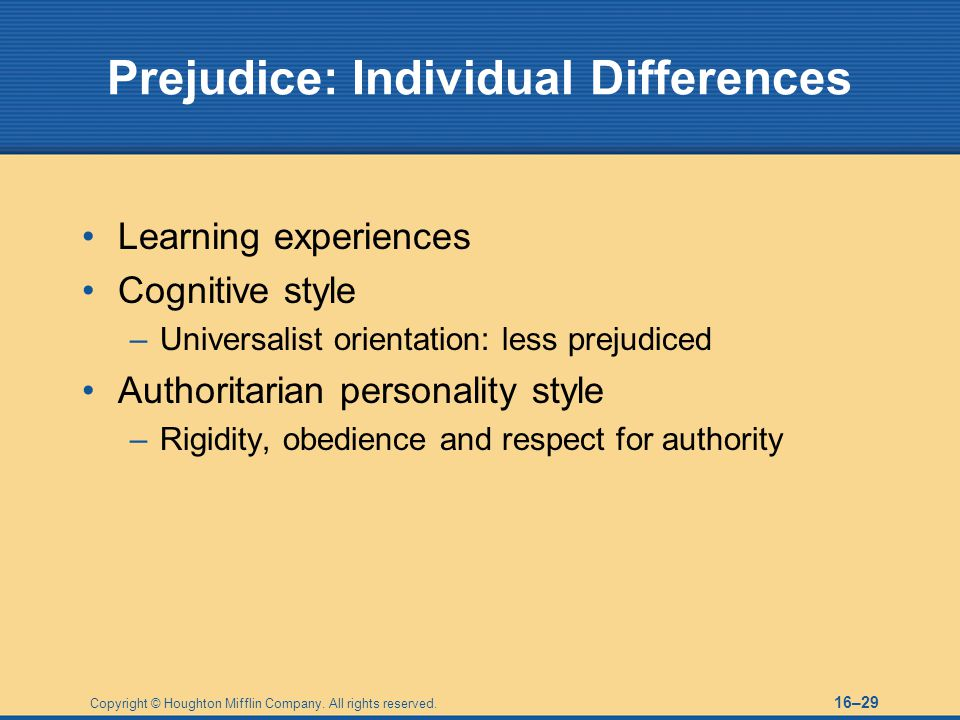 Prejudice: Individual Differences