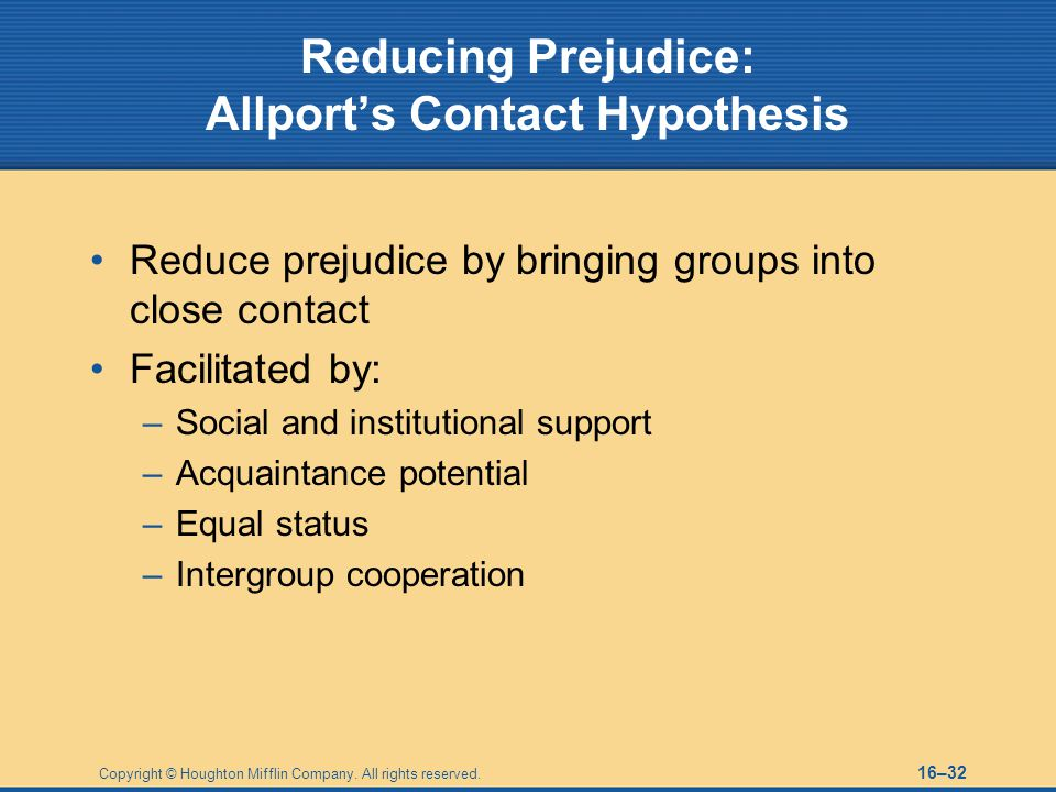 Reducing Prejudice: Allport's Contact Hypothesis