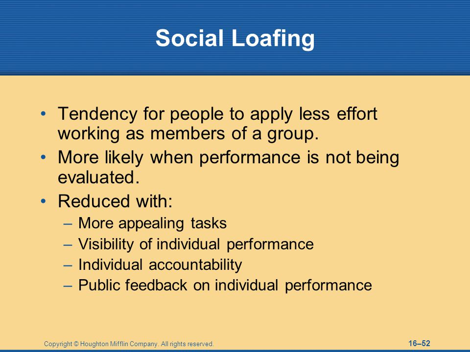 Social Loafing Tendency for people to apply less effort working as members of a group. More likely when performance is not being evaluated.