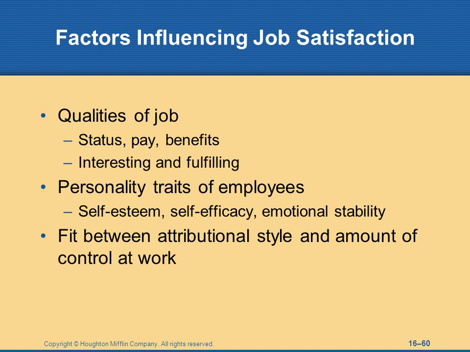 Factors Influencing Job Satisfaction
