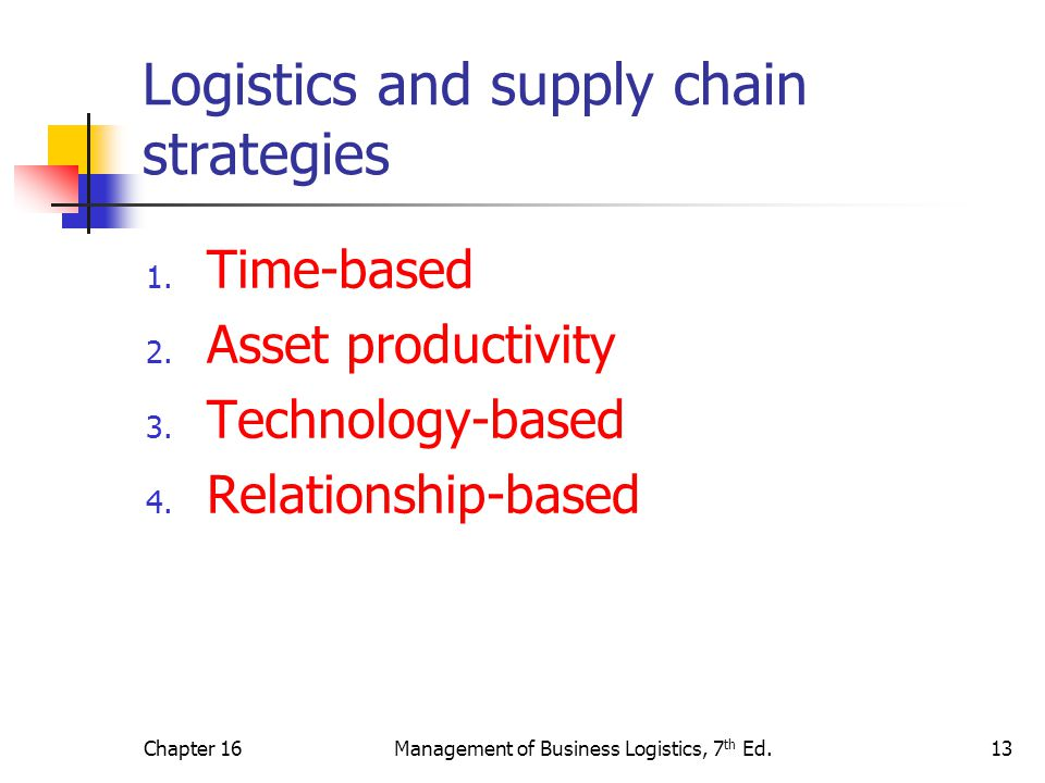 Logistics and supply chain strategies