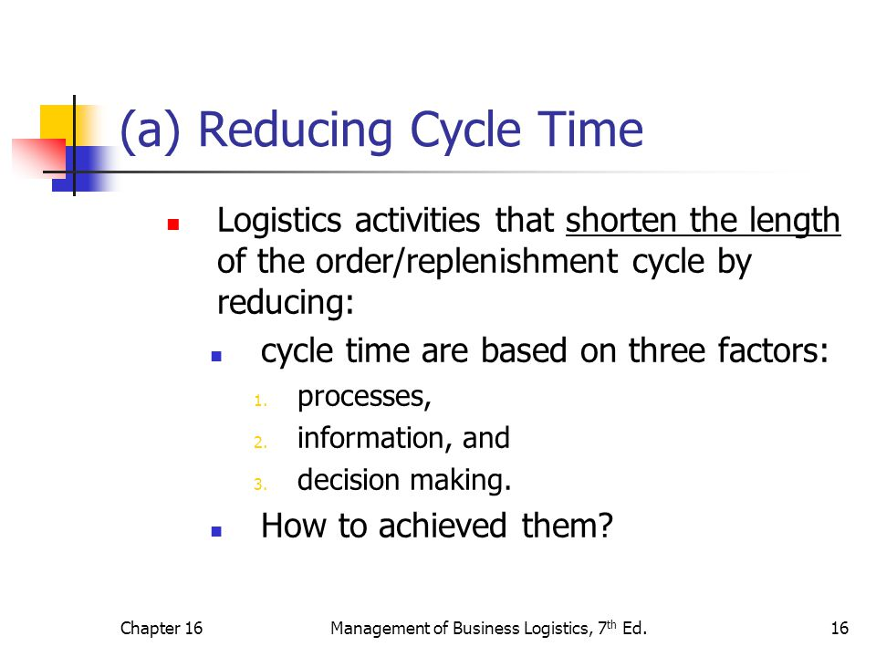 (a) Reducing Cycle Time