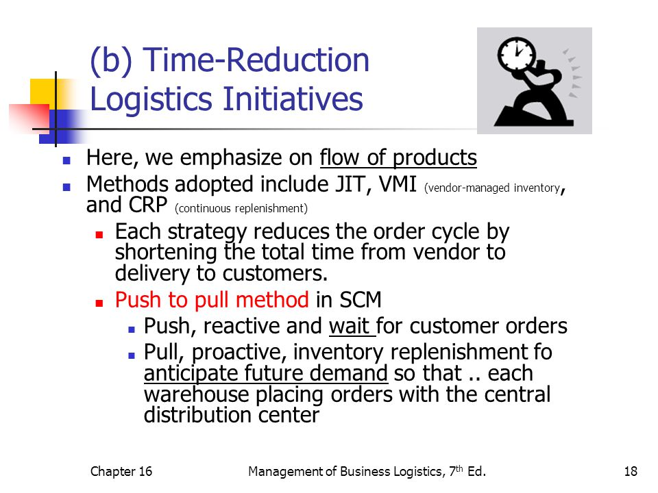 (b) Time-Reduction Logistics Initiatives