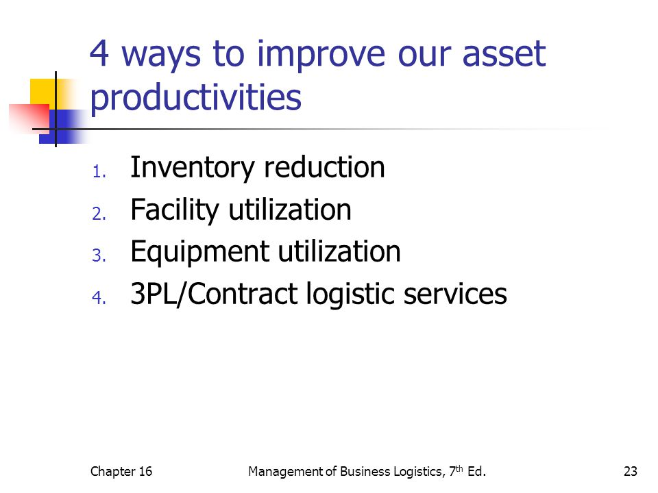 4 ways to improve our asset productivities