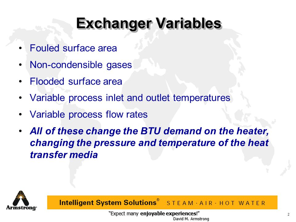 Exchanger Variables Fouled surface area Non-condensible gases
