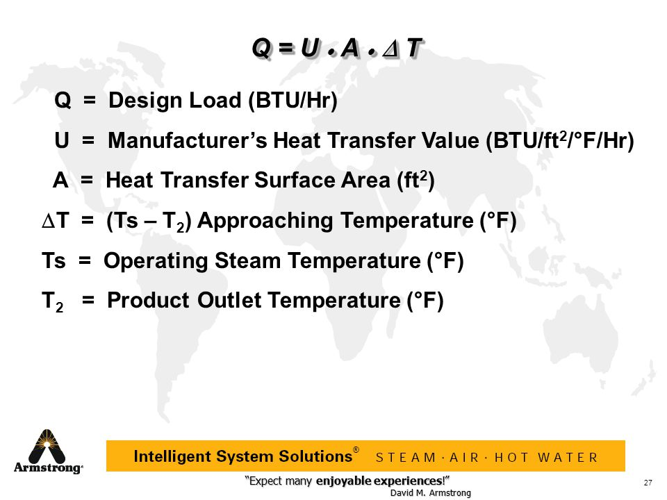 Q = U · A · D T Q = Design Load (BTU/Hr)