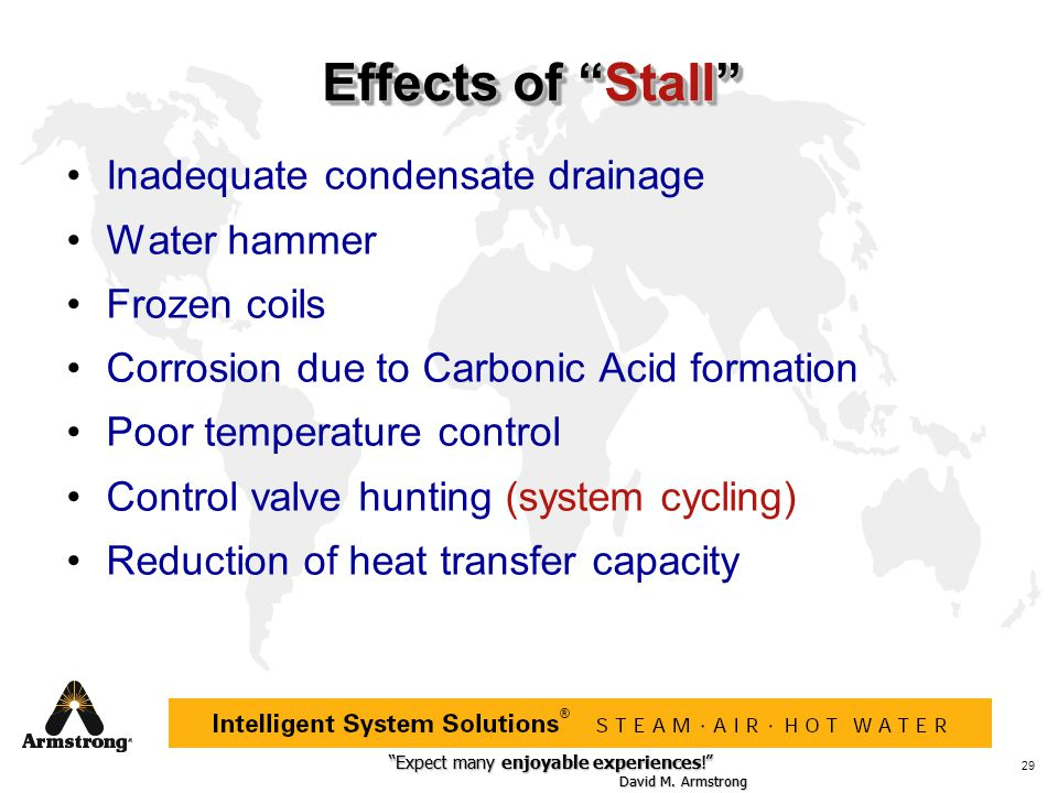 Effects of Stall Inadequate condensate drainage Water hammer