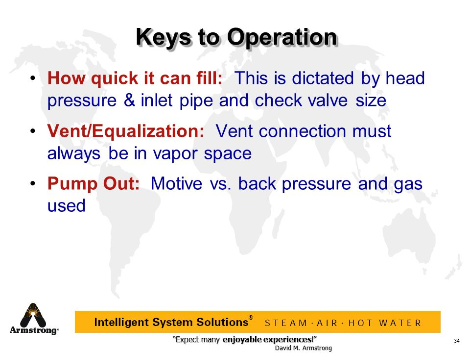 Keys to Operation How quick it can fill: This is dictated by head pressure & inlet pipe and check valve size.