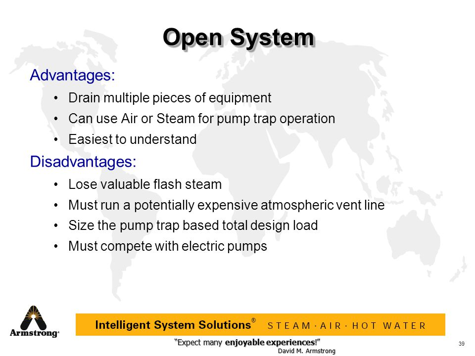 Open System Advantages: Disadvantages: