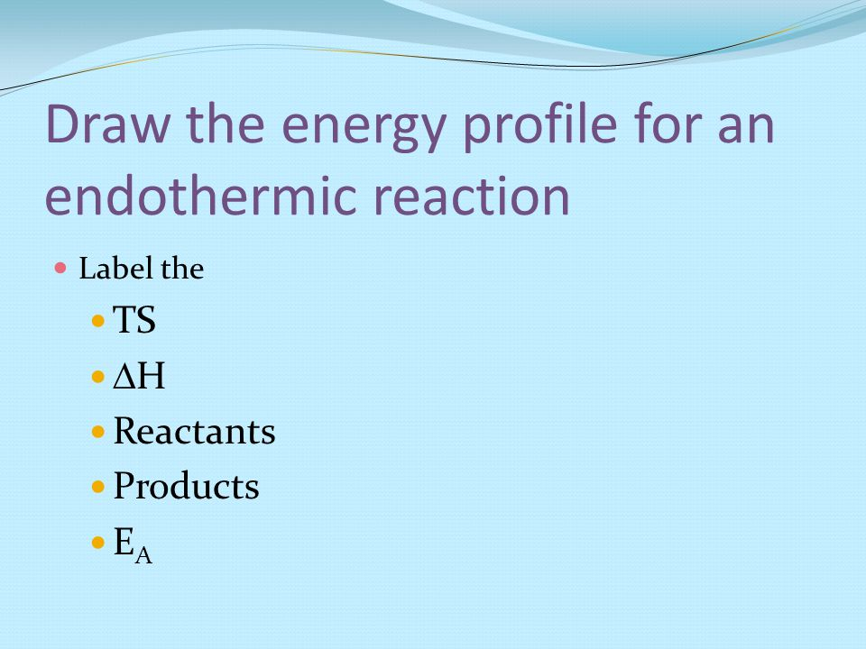 Draw the energy profile for an endothermic reaction