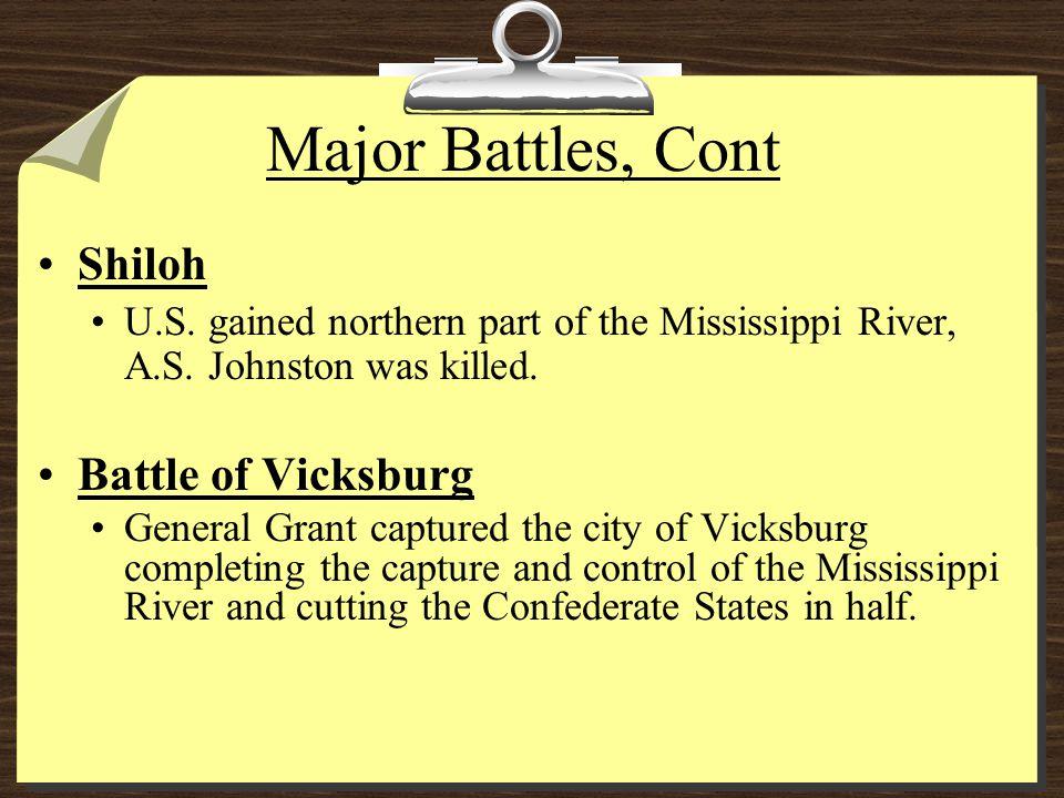 Major Battles, Cont Shiloh Battle of Vicksburg