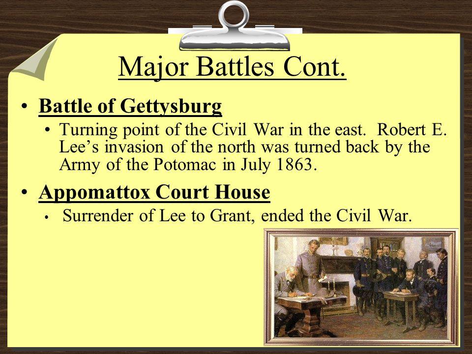 Major Battles Cont. Battle of Gettysburg Appomattox Court House