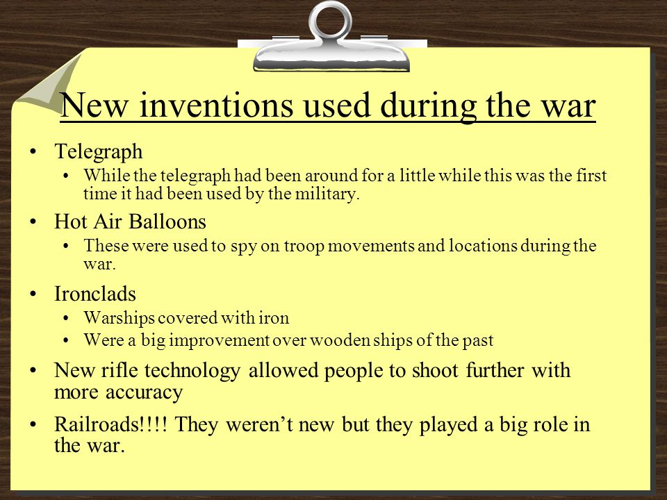 New inventions used during the war