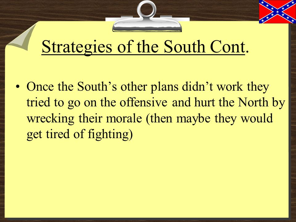 Strategies of the South Cont.