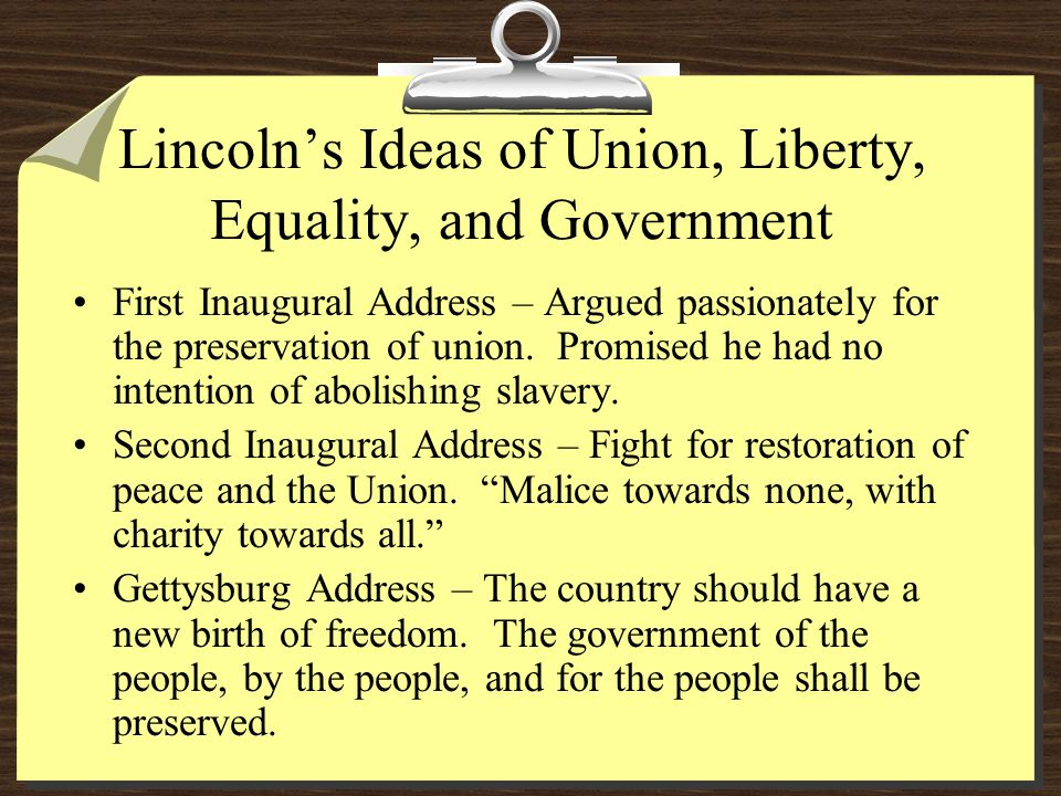 Lincoln's Ideas of Union, Liberty, Equality, and Government