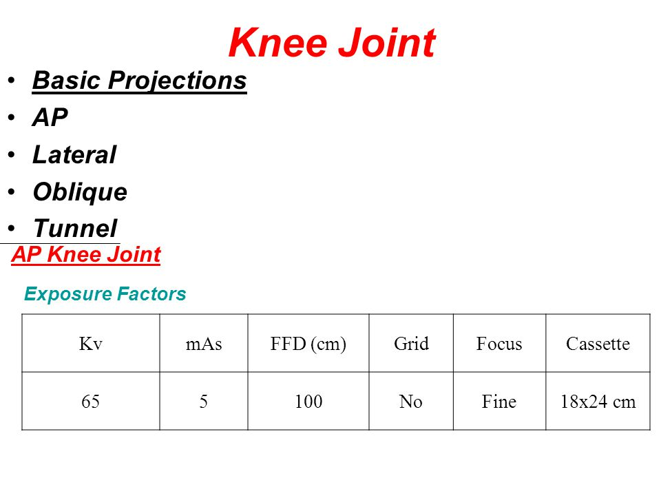 Knee Joint Basic Projections AP Lateral Oblique Tunnel AP Knee Joint