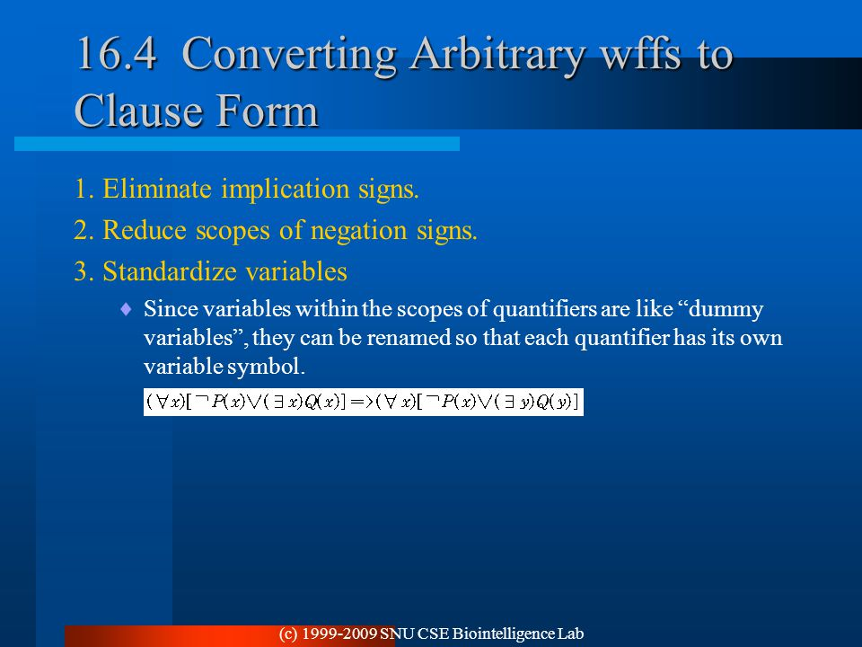 16.4 Converting Arbitrary wffs to Clause Form