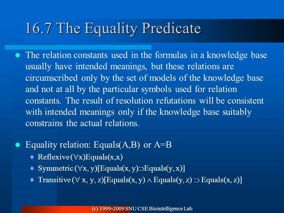 16.7 The Equality Predicate