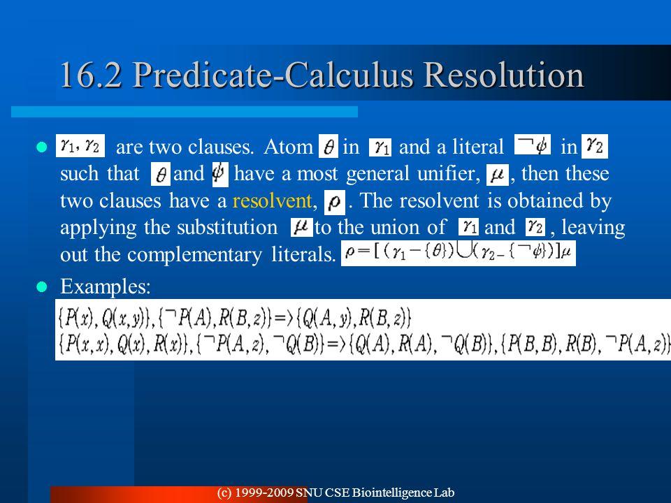 16.2 Predicate-Calculus Resolution