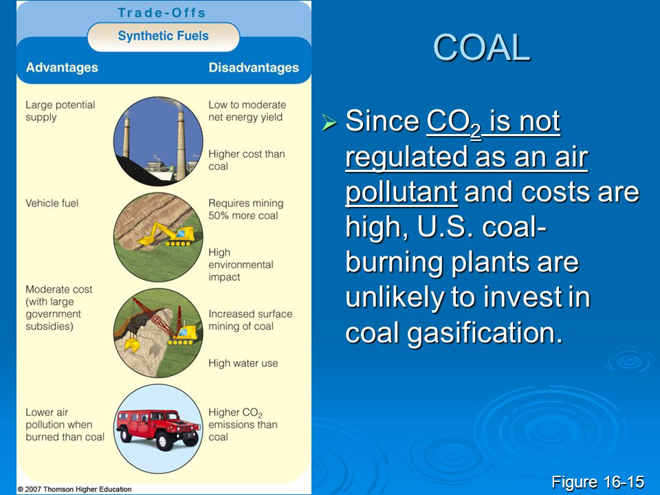 COAL Since CO2 is not regulated as an air pollutant and costs are high, U.S. coal-burning plants are unlikely to invest in coal gasification.