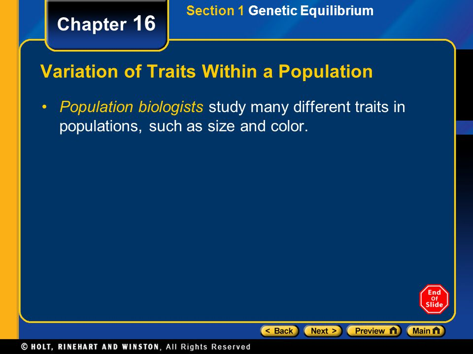 Variation of Traits Within a Population