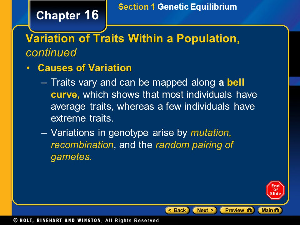 Variation of Traits Within a Population, continued