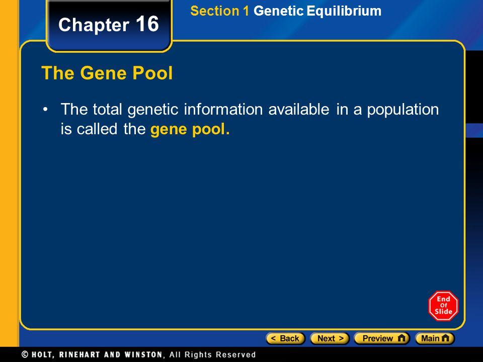 Section 1 Genetic Equilibrium