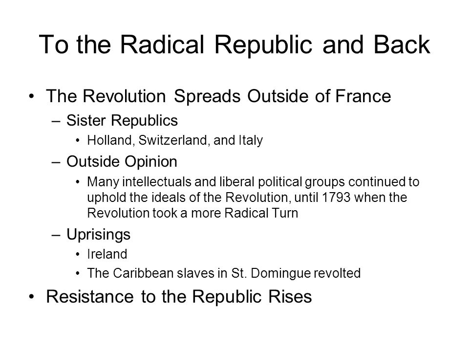 To the Radical Republic and Back