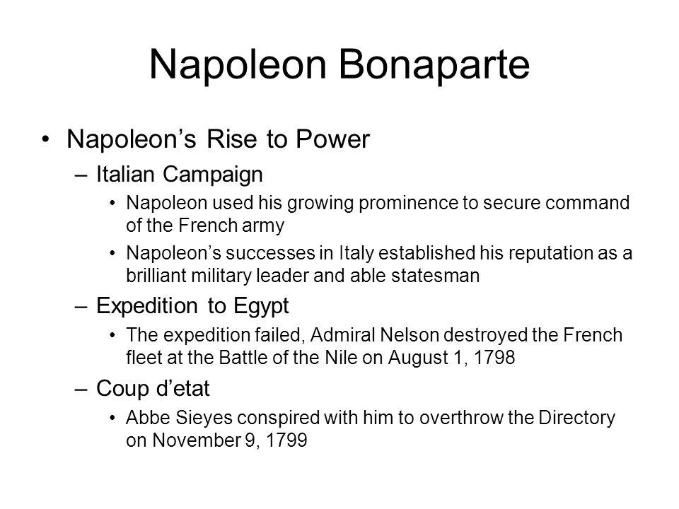 Napoleon Bonaparte Napoleon's Rise to Power Italian Campaign
