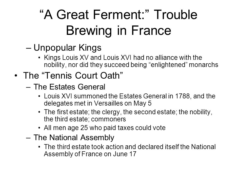 A Great Ferment: Trouble Brewing in France