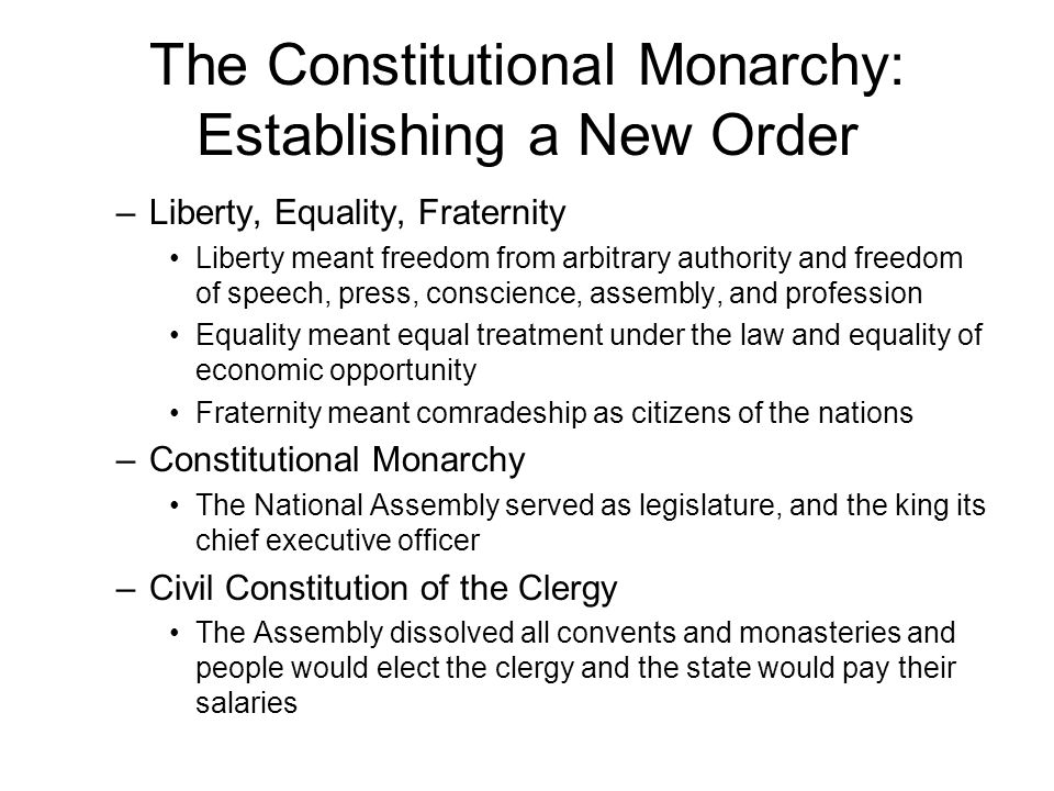 The Constitutional Monarchy: Establishing a New Order