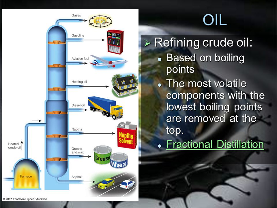 OIL Refining crude oil: Based on boiling points