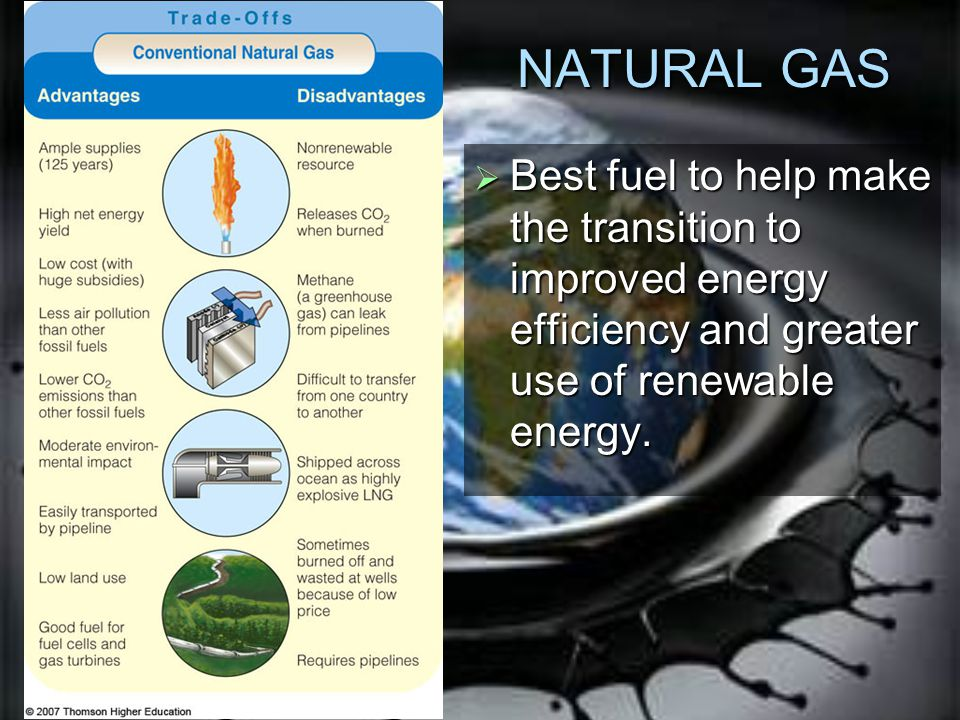 NATURAL GAS Best fuel to help make the transition to improved energy efficiency and greater use of renewable energy.