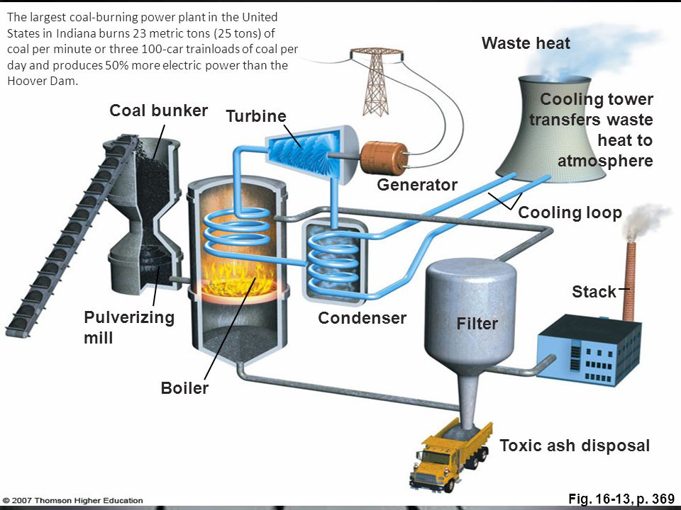 Cooling tower transfers waste heat to atmosphere Coal bunker Turbine