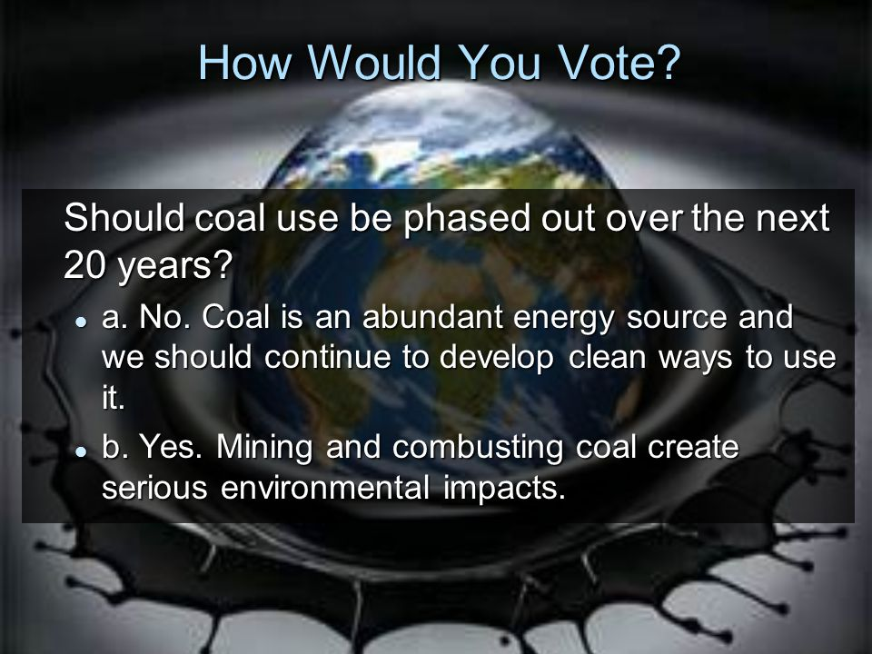 How Would You Vote Should coal use be phased out over the next 20 years