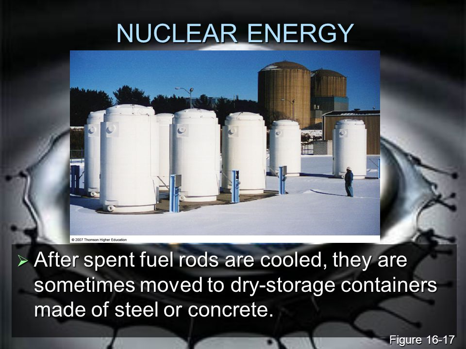 NUCLEAR ENERGY After spent fuel rods are cooled, they are sometimes moved to dry-storage containers made of steel or concrete.