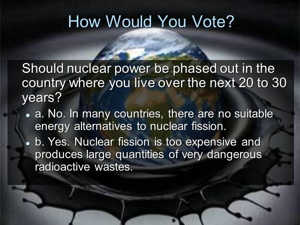 How Would You Vote Should nuclear power be phased out in the country where you live over the next 20 to 30 years