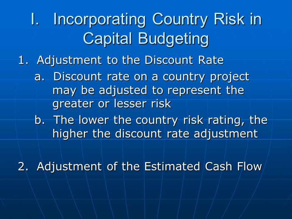 I. Incorporating Country Risk in Capital Budgeting