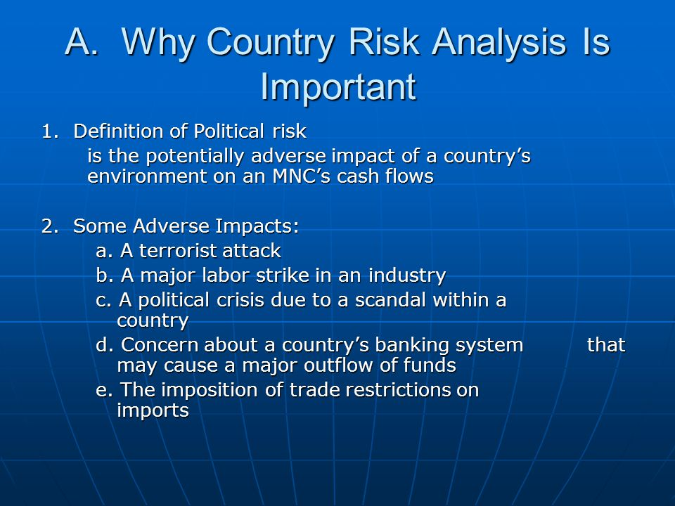 A. Why Country Risk Analysis Is Important